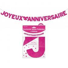 Guirlande pailletée anniversaire fuchsia (x4m) REF/GLP4M00F