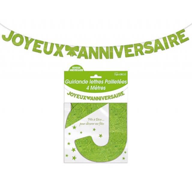 Guirlande lettre pailletee anniversaire verte