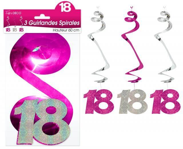 Guirlande spirale anniversaire 18ans fuchsia