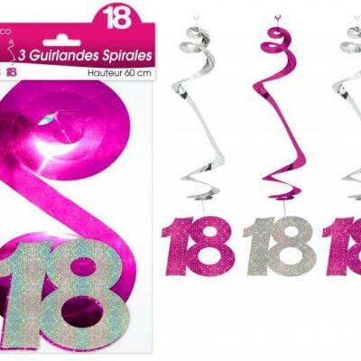 Guirlande spirale anniversaire 18ans: Fuchsia (x3) REF/SSPH01R