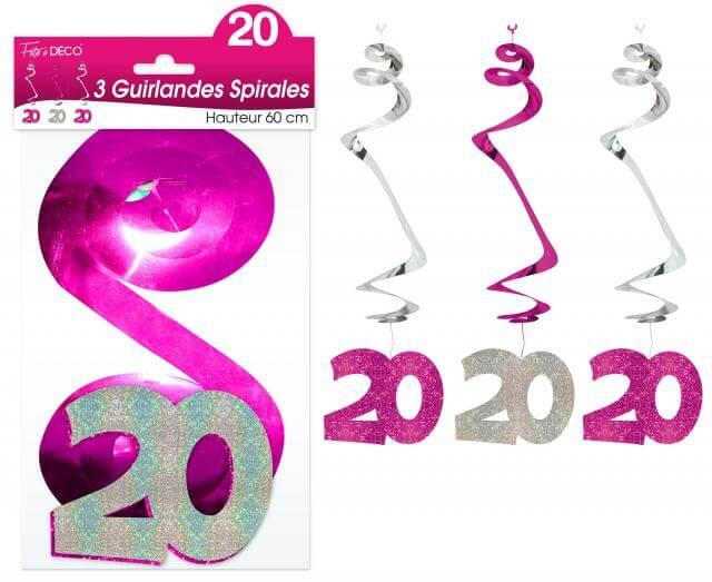 Guirlande spirale anniversaire 20ans fuchsia
