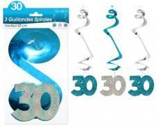 Guirlande spirale anniversaire 30ans: Bleu (x3) REF/SSPH03B