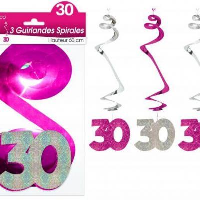 Guirlande spirale anniversaire 30ans: Fuchsia (x3) REF/SSPH03R