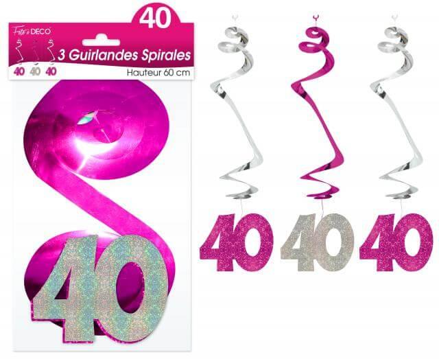 Guirlande spirale anniversaire 40ans fuchsia