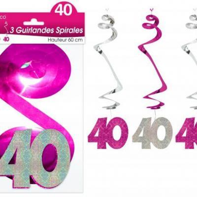 Guirlande spirale anniversaire 40ans: Fuchsia (x3) REF/SSPH04R
