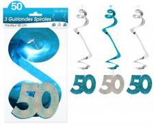 Guirlande spirale anniversaire 50ans: Bleu (x3) REF/SSPH05B