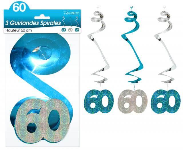 Guirlande spirale anniversaire 60ans bleue