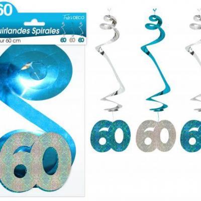 Guirlande spirale anniversaire 60ans: Bleu (x3) REF/SSPH06B