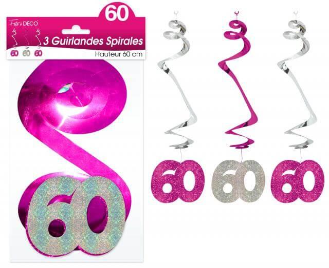 Guirlande spirale anniversaire 60ans fuchsia