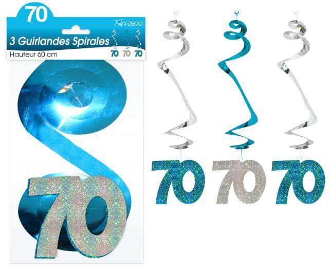 Guirlande spirale anniversaire 70ans bleue