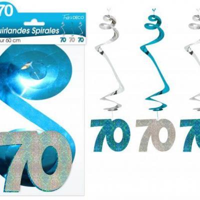 Guirlande spirale anniversaire 70ans: Bleu (x3) REF/SSPH07B