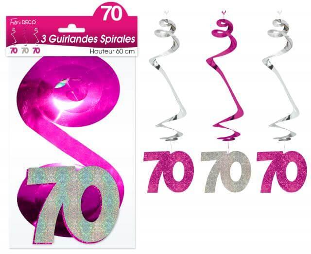 Guirlande spirale anniversaire 70ans fuchsia