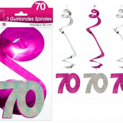 Guirlande spirale anniversaire 70ans: Fuchsia (x3) REF/SSPH07R