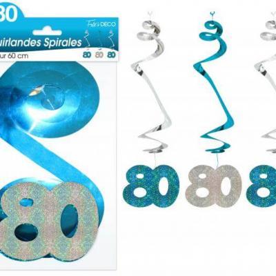 Guirlande spirale anniversaire 80ans: Bleu (x3) REF/SSPH10B