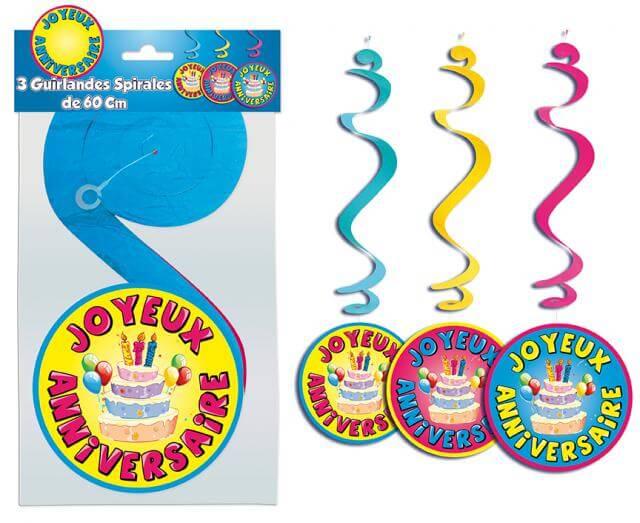 Guirlande spirales joyeux anniversaire