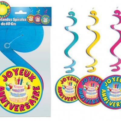 Suspension spirale joyeux anniversaire (x3) REF/GSP00