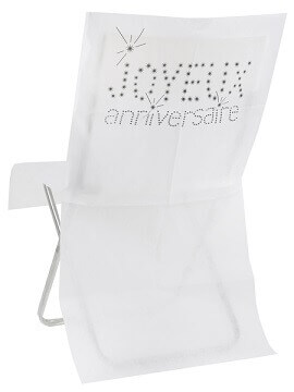 Housse de chaise anniversaire blanc