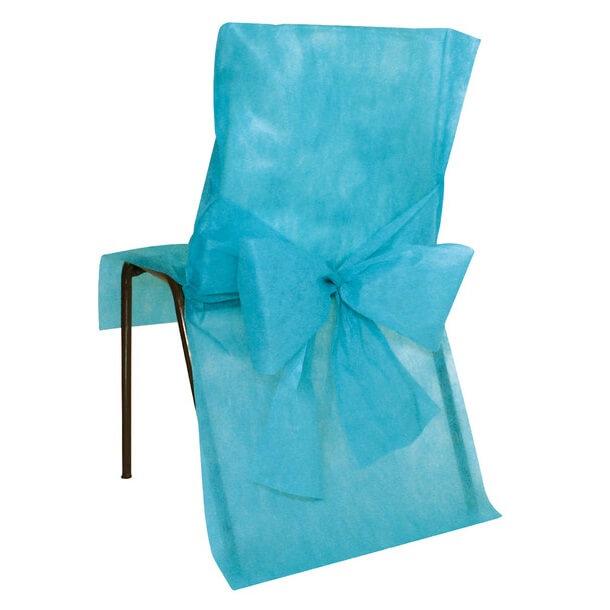 Housse de chaise mariage bleu turquoise