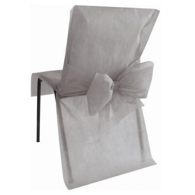 Housse de chaise avec noeud: Gris (x10) REF/2931