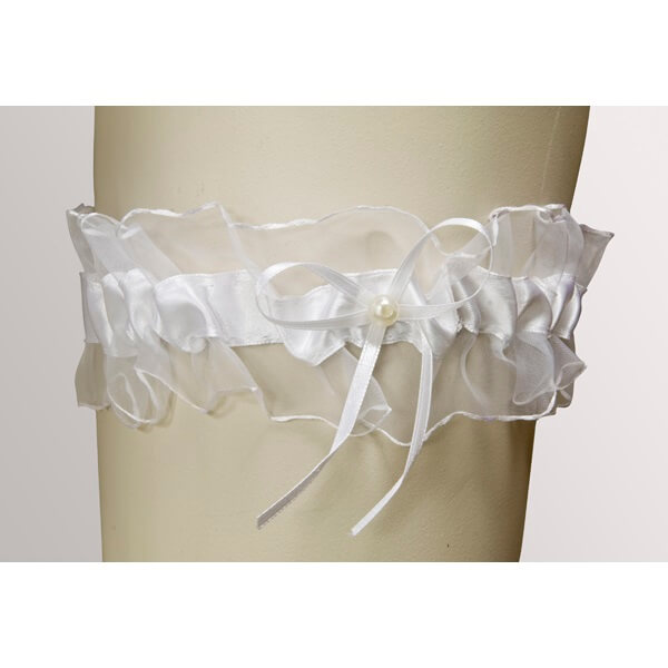 Jarretiere mariage satin et perles blanc