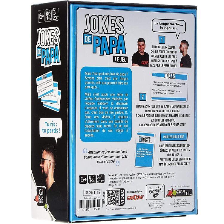 Jeu de cartes jokes de papa