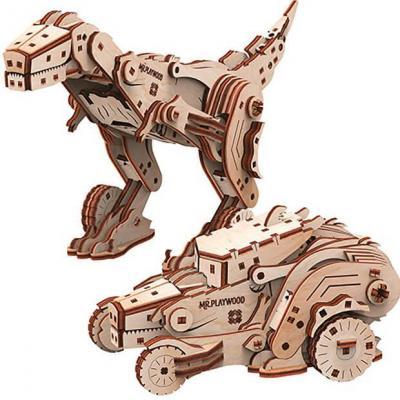 Puzzle 3D en bois Mr. Playwood Dinocar (x1) REF/PWDI