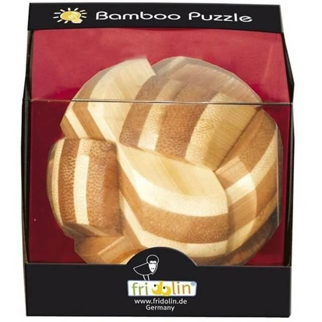 Jeux casse tete sphere fridolin en bois de bambou