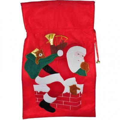 Joli sac pour cadeau rouge avec hotte du père Noël de 68cm (x1) REF/NOZ128S