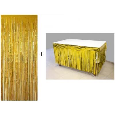 Jupon de table avec rideau frange dore or