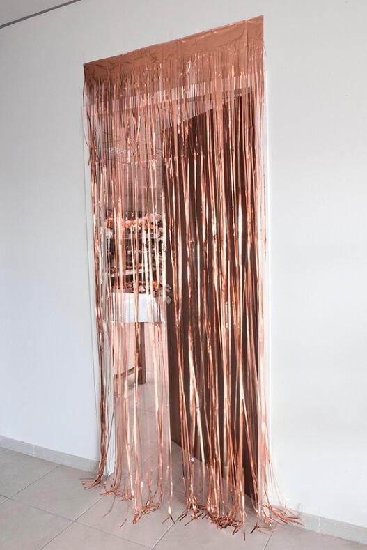 Jupon de table et rideau de porte rose gold avec des franges