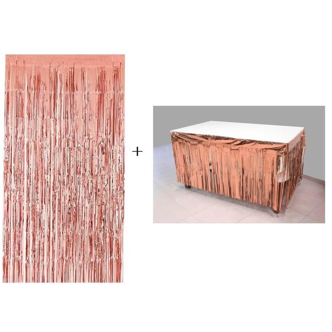 Jupon de table et rideau de porte rose gold avec frange