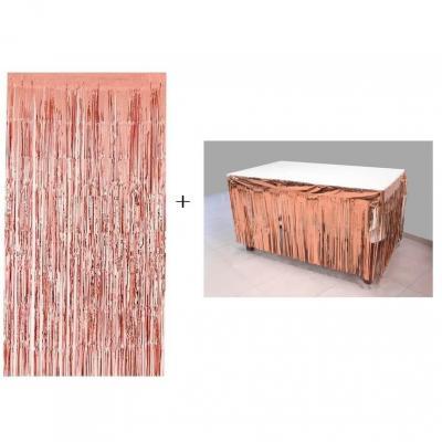 Rideau de porte avec un jupon de table rose gold métallisé et ses franges (x1) REF/GUI083-GUI084