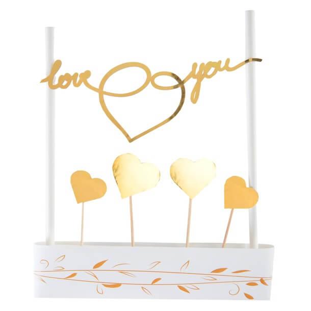 Kit decoration gateau de mariage blanc et or