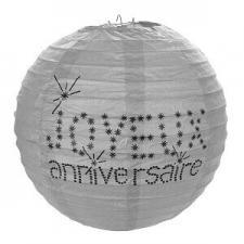 Lanterne joyeux anniversaire grise, 20cm (x2) REF/4387