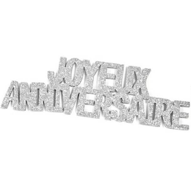 Lettre autocollante joyeux anniversaire pailletee argentee