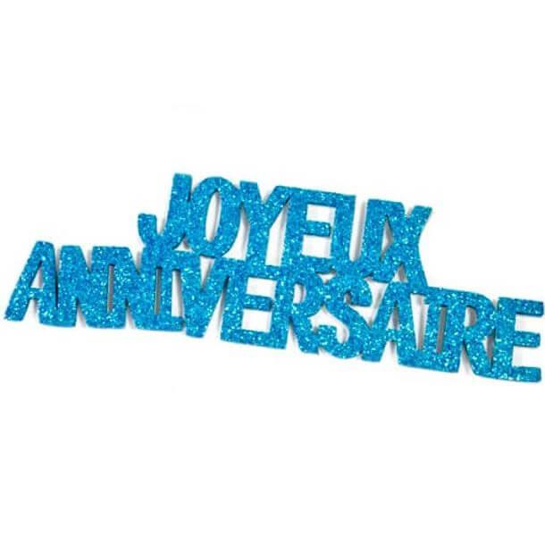 Lettre autocollante joyeux anniversaire pailletee bleu turquoise