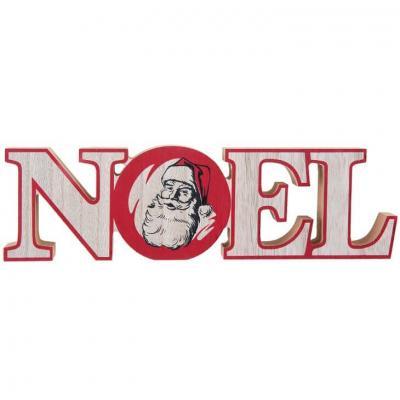Décoration père Noël en lettre bois naturel et rouge de 23.5cm (x1) REF/7078