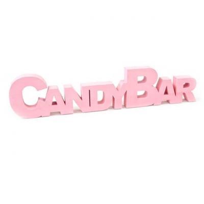 Lettre en bois Candy bar rose (x1) REF/DEC825