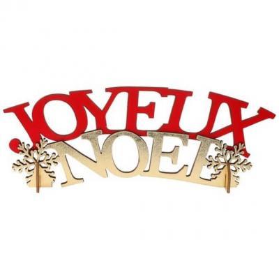 Décoration de table avec lettre en bois Joyeux Noël rouge et or (x1) REF/7042