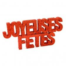Lettre pailletée joyeuses fêtes rouge (x1) REF/DEK0043