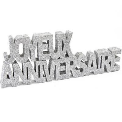 Lettre joyeux anniversaire argent (x1) REF/DEC759