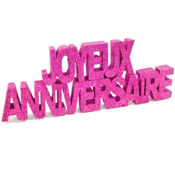Lettre joyeux anniversaire fuchsia pailletee