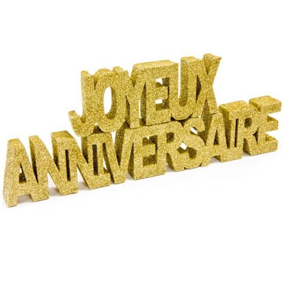 Lettre joyeux anniversaire or pailletee
