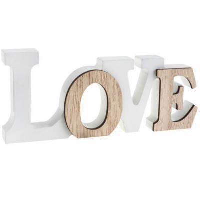 Centre de table lettre love en bois blanc et naturel (x1) R/6828