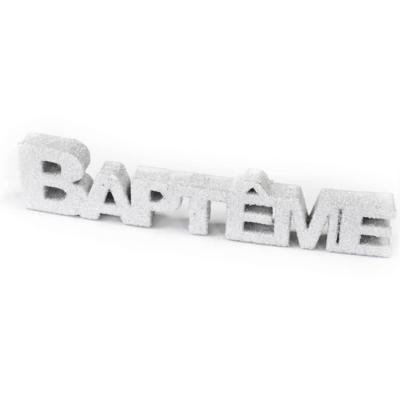 Lettre Baptême pailletée blanche (x1) REF/DEC765