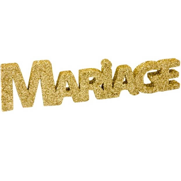 Lettre pailletee mariage or