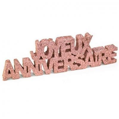 Lettre pailletée rose gold en joyeux anniversaire de 12cm (x1) REF/DEC758