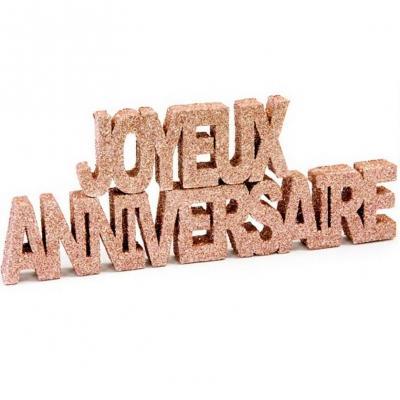 Décoration lettre rose gold pailletée en joyeux anniversaire de 20cm (x1) REF/DEC759