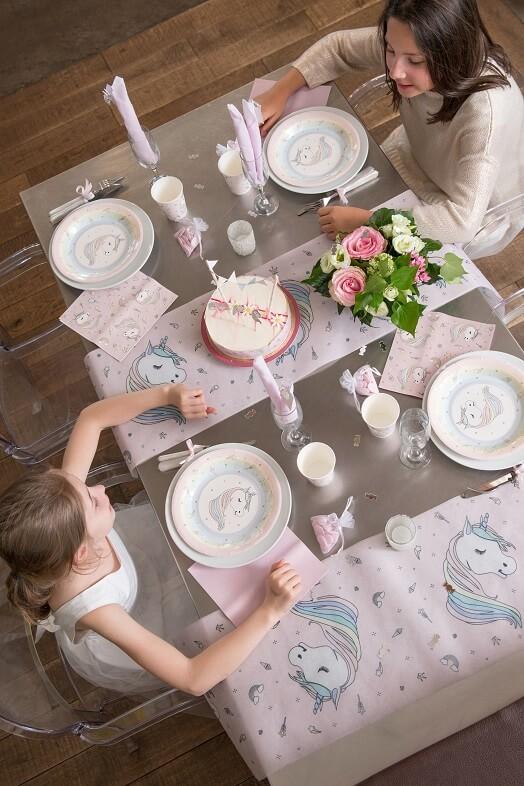 Licorne rose assiette