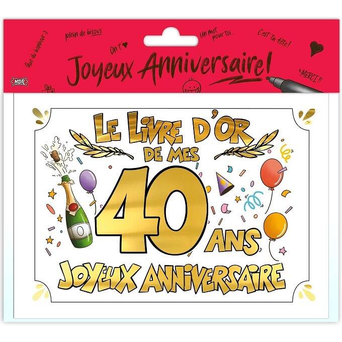 Livre d or anniversaire 40 ans or multicolore